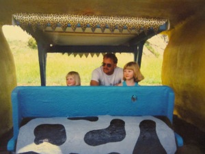 Vic, Dad and Jess at Flintstone village.