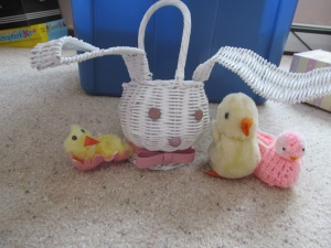 Wicker Easter bunny with various chicks on the side.