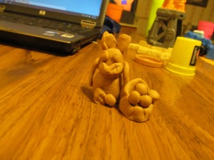 Jaxon and Grandma made an Easter bunny out of play dough.