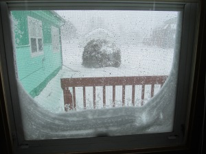 Snow coming into the screen and filling up the windows. This house needs work.