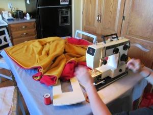 First part of fleece blanket.
