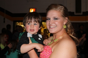 Paulina and Jaxon all dressed up at prom.