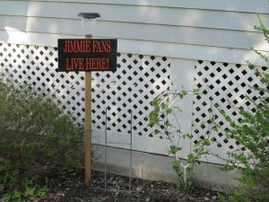 Clematis on the heart and the Jimmie fan sign.