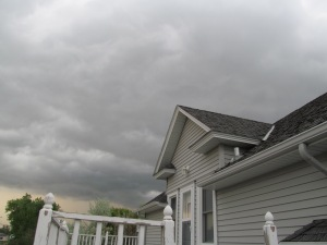 Storm clouds over our house.
