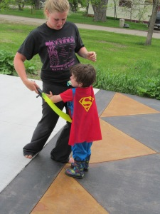 Victoria and Superman. Miss the little imp.