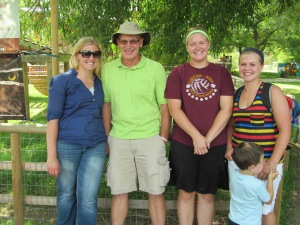 James with his daughters and Jaxon at the zoo.