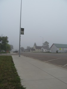 Looking north on Herreid's Main Street on a misty morning in August, 2013.