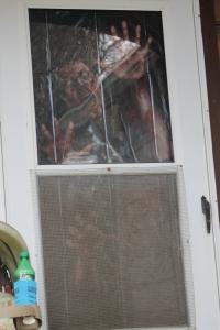 Victoria is a Halloween freak. Jaxon prefers zombies, so the door has a zombie.
