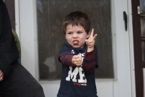 "I couldn't get a ""normal"" good-bye wave, Jaxon kept doing a zombie thing."