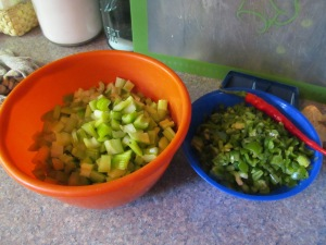 Celery and peppers diced up for the salsa pot.