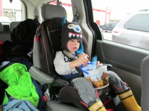 Jaxon in the car seat during the trip.