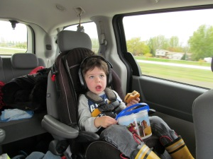 Jaxon watching movies on the way to Grand Forks.