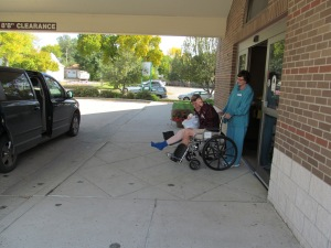 James coming out of the surgical center.