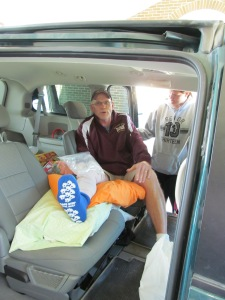 In the van with Paulina adjusting blankets.