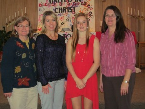 Elisabeth with her aunts. Left to right, me, Adie, Elisabeth and Kathy.
