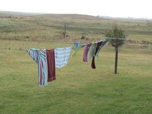 Towels on the line show how windy it is today.