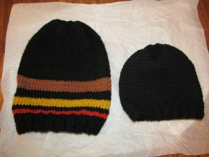 Closer look at the striped and the baby cap.
