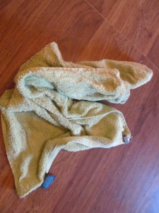 Frozen towel.