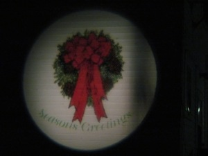 Projector light on Grandma's house. I have three other pictures to use and will change them as we get closer to Christmas.