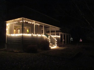Our house in the early stages of putting up Christmas lights.