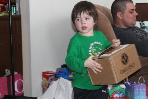 Jaxon with gift box.