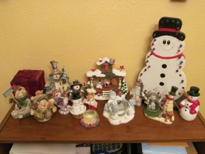 The breakable snowmen. The one on the far right has three different sayings when you push a button on his belly.