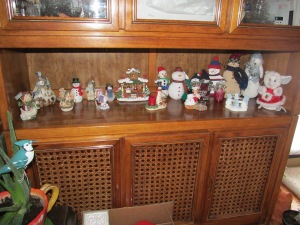 Snow people on display in the hutch area.