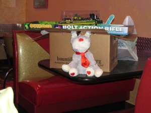 Some of the gifts he got. He must have really liked the rifle. He went Zombie hunting when he got home.