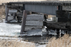 Ice jam on train bridge.