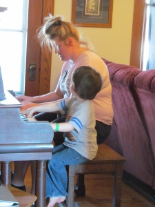 Jaxon and Paulina on piano.