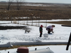 Jaxon and Paulina working on the snowman with Raja watching.