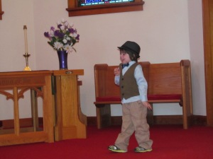 Jaxon showing off after church.