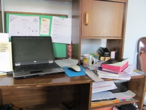 My messy work area to the right.