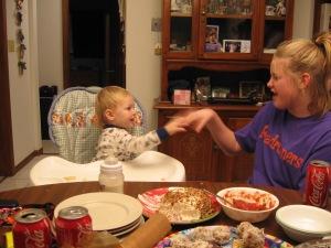 Paulina feeding Carson.