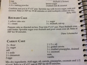 Recipe for rhubarb cake. This is found in the Herreid Centennial cookbook.
