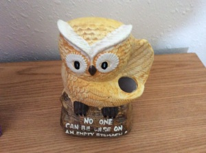Owl says: No one can be wise on an empty stomach. Not sure what the holes are for, though.
