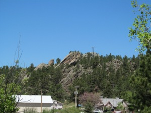 A view of a hill across from the Flintstone Village.