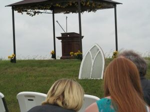 Gazebo area where the wedding party would stand. Jessica and I read scripture behind that pulpit.