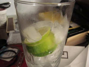 Water with lime.