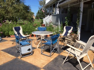 Furniture on the patio. Maybe coffee later?? Or we could do some lemonade.
