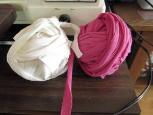 Balls of t-shirt yarn.