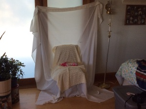 Make shift studio for baby picture.