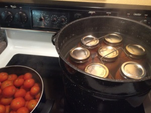 Spagetti in the canner, small tomatoes blanching.