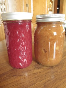 Plum jelly and apple sauce