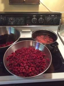Beets. I ended up with 8 pints for the freezer.