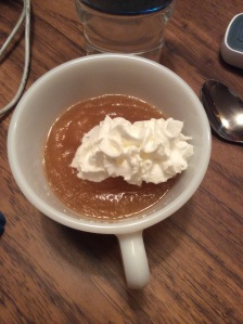 Apple sauce with a topping of whipped cream. So very yummy when hot.