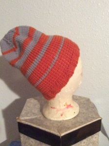 My latest hat. I got carried away with the color pattern so decided to make it extra long.