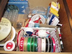 Ribbons and other trim items to use on projects.