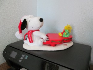 When you push the little button the piano plays, Snoopy moves and the lights blink. Just love it!!