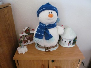 The stuffed snowman and the igloo from many long years ago.